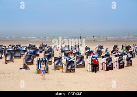 Beach chairs on the beach, Norderney Island, Nationalpark, North Sea, East Frisian Islands, East Frisia, Lower Saxony, - Stock Photo