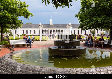Fountain and Conversation building, Norderney Island, Nationalpark, North Sea, East Frisian Islands, East Frisia, - Stock Photo