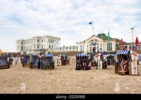 Beach chairs on the beach Weststrand, Norderney Island, Nationalpark, North Sea, East Frisian Islands, East Frisia, - Stock Photo