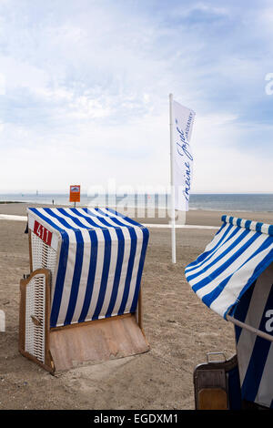 Beach chairs on the beach, Weststrand, Norderney Island, Nationalpark, North Sea, East Frisian Islands, East Frisia, - Stock Photo