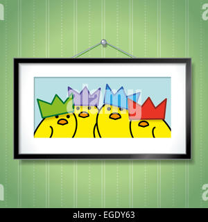 Cute Family Portrait of Yellow Chicks Wearing Party Hats in Picture Frame Hanging on Green Wallpaper Background - Stock Photo