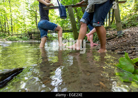 Kneipp cure, hydrotherapy in river Ruhr, a theme hiking path in the Sauerland region, Germany, - Stock Photo