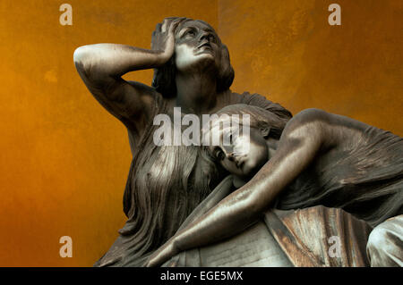 A detail of a tomb in Cimitero Monumentale (Monumental cemetery) - Milan - Stock Photo