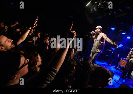 Ljubljana, Slovenia. 23rd February, 2015. Concert of Seatlle basled gypsy-punk band Kultur Shock , which mix Rock, - Stock Photo