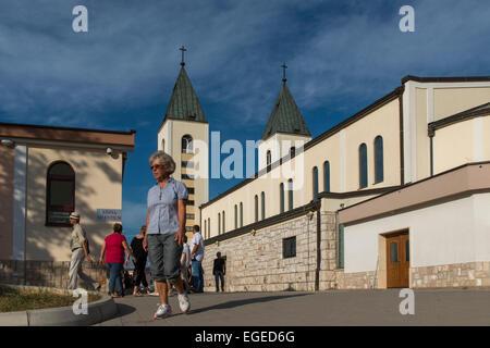 Pilgrim at St James Church, Medjugorje (Medugorje) - Stock Photo