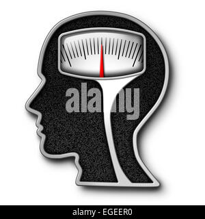 Diet psychology concept as a weight scale shaped as a human head as a symbol for eating issues and obsession of - Stock Photo