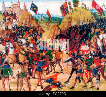 Battle of Crécy between the English and French in the Hundred Years' War. The victorious English are on the right. - Stock Photo