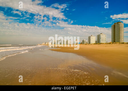 Panoramic view of a sandy beach in Punta del Este - Stock Photo