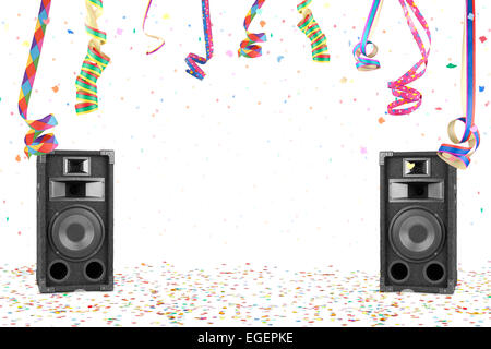 Party background with confetti, streamer and speakers