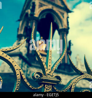 closeup of the railings at the Albert Memorial in London, United Kingdom, seen blurred in the background, with a - Stock Photo