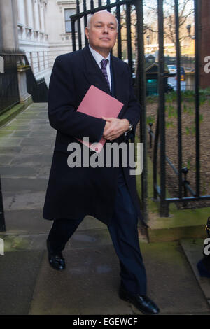 London, UK. 24th February, 2015. Ministers arrive at the weekly cabinet meeting at 10 Downing Street. PICTURED: Secretary of State for Work and Pensions Iain Duncan-Smith Credit:  Paul Davey/Alamy Live News