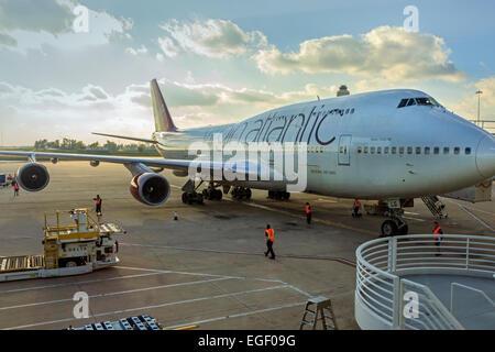 Virgin Atlantic Boeing 747 being loaded at Orlando Airport, Florida, America - Stock Photo