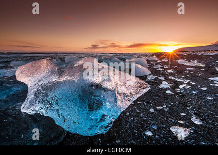 Broken ice from washed up Icebergs on Jokulsarlon black beach at sunset Jokulsarlon South east Iceland - Stock Photo