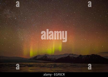 Aurora borealis or Northern Lights Jokulsarlon Iceland Europe - Stock Photo