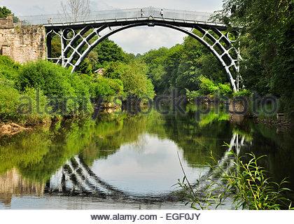 The Iron Bridge in Ironbridge, Shropshire, UK - Stock Photo