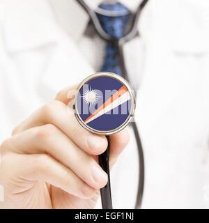 National flag on stethoscope conceptual series - Marshall Islands - Stock Photo