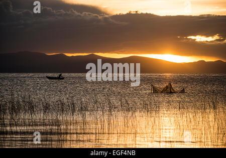 Sunset over Lake Titicaca, Copacabana, Lake Titicaca, Bolivia - Stock Photo