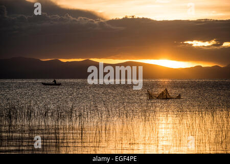 Sunset over Lake Titicaca, Copacabana, Lake Titicaca, Bolivia - Stock Photo