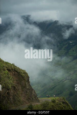 View through valley, Sorata, Cordillera Real, Bolivia - Stock Photo