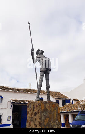 Statue of Don Quixote, Don Quijote in Puerto Lapice, La Mancha, Spain. - Stock Photo