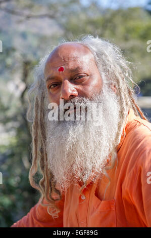 A Sadhu or Holy Man sat above the Ganges in the Himalayan foothills of Rishikesh, Uttarkahand, India - Stock Photo