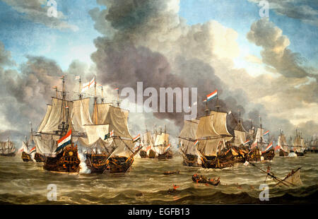 The Battle of Livorno 1653 - 1664  Reinier Nooms  Dutch Netherlands ( The battle between the Dutch and English fleets - Stock Photo