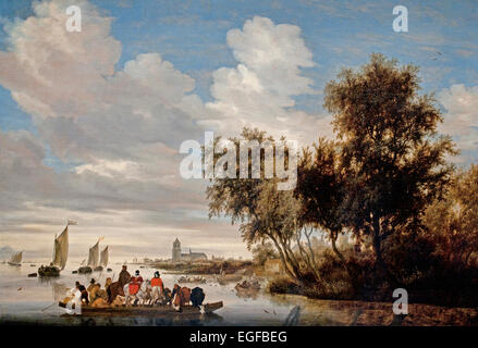 River Landscape with Ferry 1649 Salomon Jacobsz. van Ruysdael 1600-1670 Dutch Netherlands - Stock Photo