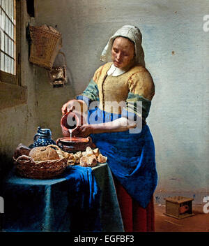 The Milkmaid, by Johannes Vermeer, 1660, Dutch painting, oil on ...