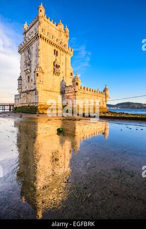 Belem Tower in Belem, Lisbon, Portugal. - Stock Photo