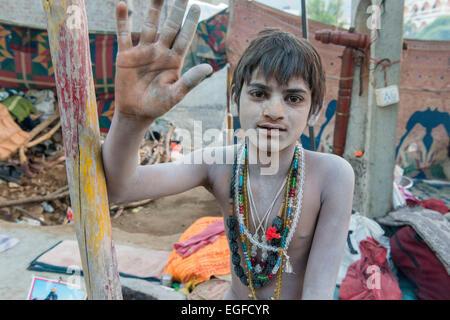 Young Naga Sadhu, Shivratri, Bhavnath Mela - Stock Photo