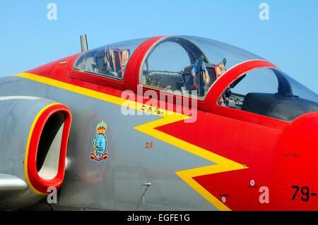 CASA C-101 Aviojet military plane at the second airshow at Malaga airport, Malaga, Andalusia, Spain, Western Europe. - Stock Photo
