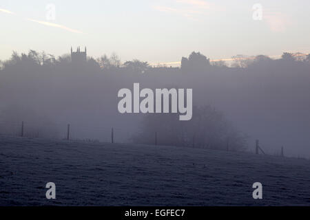 Stow-on-the-Wold church in dawn frost,  Stow-on-the-Wold, Cotswolds, Gloucestershire, England, United Kingdom, Europe - Stock Photo