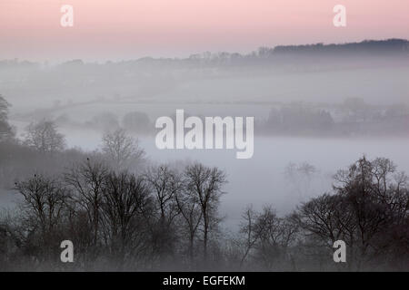 Winter landscape in dawn frost and fog, Stow-on-the-Wold, Cotswolds, Gloucestershire, England, United Kingdom, Europe - Stock Photo