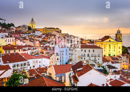 Lisbon, Portugal cityscape  at the Alfama district at dawn. - Stock Photo