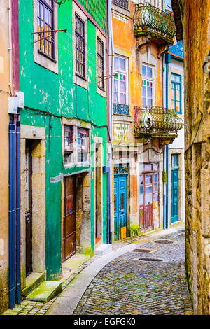 Quaint alleyway scene in Porto, Portugal. - Stock Photo