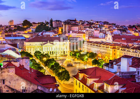 Lisbon, Portugal Pombaline district skyline over Rossio Square. - Stock Photo