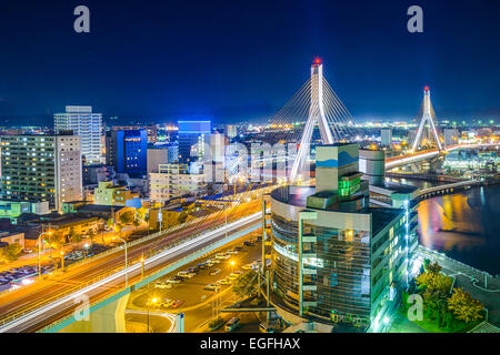 Aomori City, Japan downtown cityscape. - Stock Photo