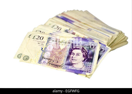 Cut out picture of a pile of British banknotes - Stock Photo
