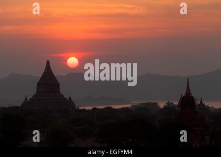 Sunset over temples, Bagan, Myanmar ( Burma ), Asia - Stock Photo