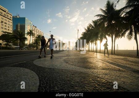 Walkway at Copacabana Beach, Rio de Janeiro, Brazil, South America - Stock Photo