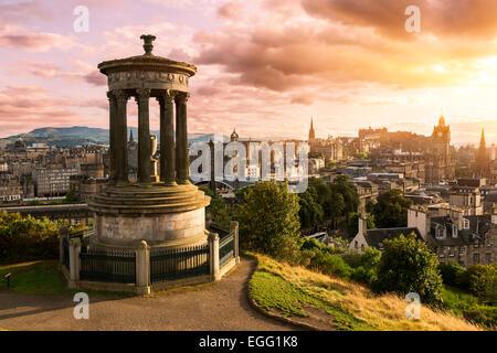 Edinburgh skyline from Calton Hill at sunset - Stock Photo