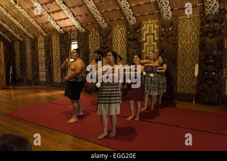 Te Pitowhenua group of performers act a traditional Maori shoe of song and dance for tourists and visitors at the - Stock Photo