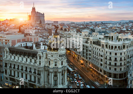 Skyline of Madrid with Metropolis Building and Gran Via - Stock Photo