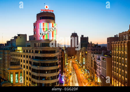 Skyline of Madrid at Dusk - Stock Photo