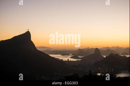 View from Chinese Vista at dawn, Rio de Janeiro, Brazil - Stock Photo