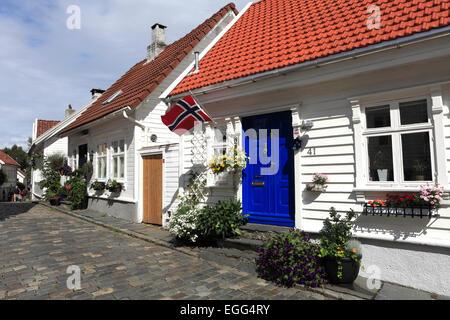 White wooden buildings in the Old Town (Gamle Stavanger), Stavanger town, Western Fjords, Norway, Scandinavia, Europe - Stock Photo
