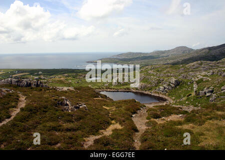 looking towards ballydogenan from above copper mines - Stock Photo