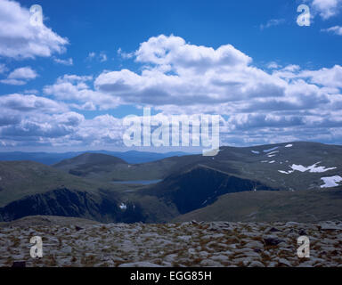 Loch Etchachan Carn Etchachan Ben Macdui  & Derry Cairngom in  background from Cairn Gorm Cairngorm mountains Grampian - Stock Photo