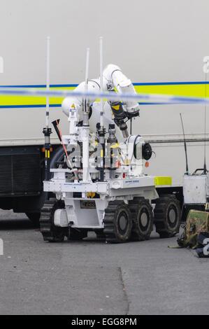 Northrof Grumman Andros Remotec Cutlass robot at the scene of a bomb alert in Northern Ireland. - Stock Photo