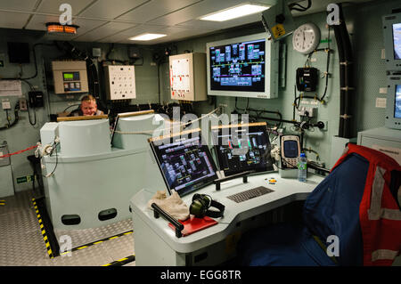 Engineering Control room in HMS Dragon, a type 45 destroyer and the most advanced in the UK Royal Navy fleet. - Stock Photo